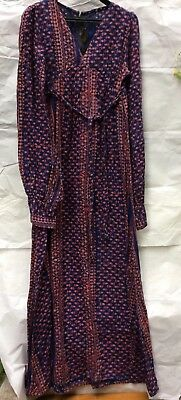Vintage 1970's Hippy Boho Indian Block Print Long Dress Ayesha Davar size 10