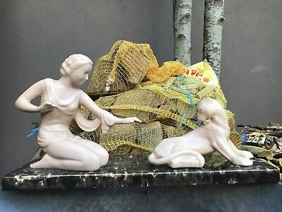 Ancienne Statue Art Deco Faience Signé Odyv Panthere Femme 1930