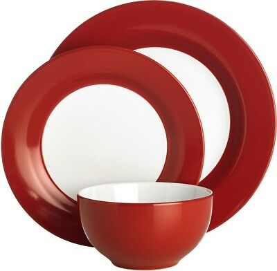 12 Piece Ceramic Dinner Set Red Dinnerware Plate Cereal Bowl Service Dishes NEW