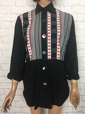 ❤️ Vintage 90's Womens Black White Red Oversize Festival Blogger Ibiza Shirt