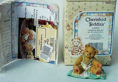 New 1997 Retired Cherished Teddies Baby Bear A Gift To Behold Boy On Quilt 20Yrs