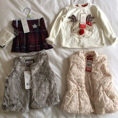 Bundle 12-24 Month Girls Gillet's And Tartan Skirt With Xmas Jumper