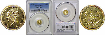 1871 Fifty Cent California Fractional Gold PCGS MS-62 BG-1011