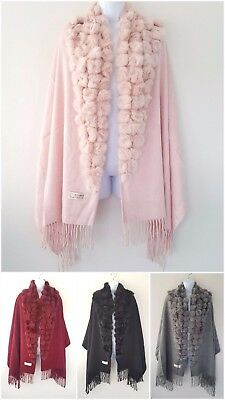 WOMEN LADIES FASHION 100% Wool Fur Pom Pom Winter Scarf, Shawl,Party ,Christmas,