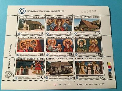 Republic of Cyprus TROODOS CHURCHES 1987 miniature sheet catalogue $29.00