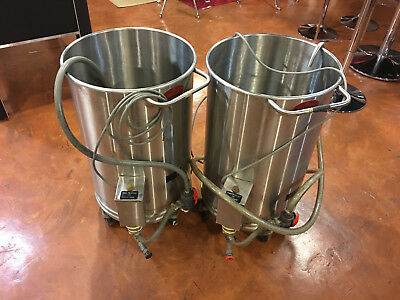 LOT OF 2 Oscar Fisher Stainless Steel Chemical Portable Mixer Tank 25 Gallons
