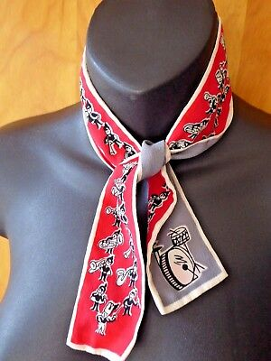 1950s Occupied Japan Silk Scarf Tie Music Band Players Drums Rockabilly Beaut