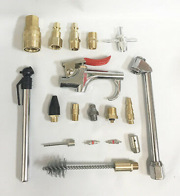 18pc Air Tool Compressor Blow Gun Chuck Pneumatic Accessory Accessories Kit NEW