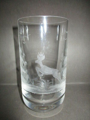 Engraved Crystal Hi Ball Tumbler - Leaping Deer - Moser?