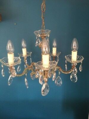 Authentic French Antique Crystal Glass And Bronze Metal 5Arm Chandelier
