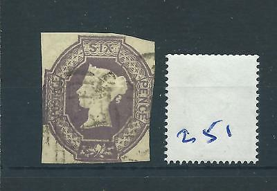wbc. -  GB - QUEEN VICTORIA -  QV251 - 6d. - LILAC - EMBOSSED -  SG 59