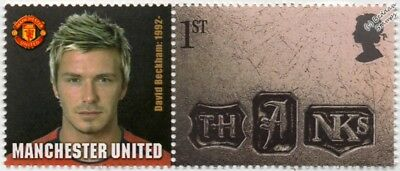 DAVID BECKHAM Manchester United Football Club Stamp & Smiler Label (GB 2002)
