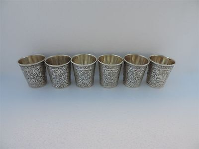 6p MUSEUM Rare SIGNED Antique PERSIAN Islamic Qajar Solid Silver Figural  Cups