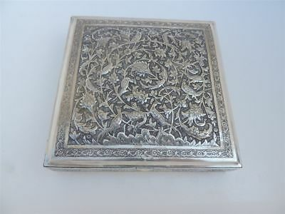 FINEST LARGE ANTIQUE SIGNED PERSIAN ISLAMIC SOLID SILVER SCHOLAR BOX 757 grams