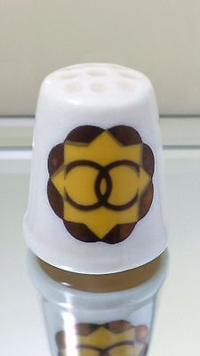 Vintage Porcelain Ceramic Celtic? Yellow Sun Rings Collectible Sewing Thimble