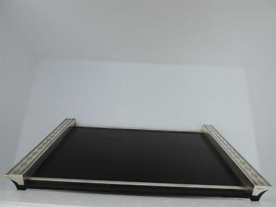 Masterly Crafted Japanese Sterling Silver Art Deco Wood Tea Serving Tray Japan