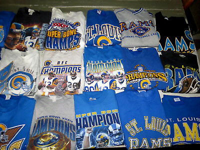 LOT OF 21 VTG 90s SWEATSHIRTS ST LOUIS RAMS LOS ANGELES SUPER BOWL 34 WARNER