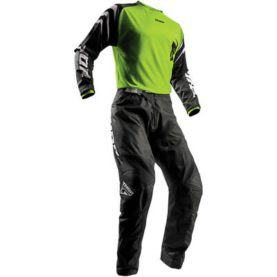 Thor Mens & Youth Lime Green/Black Sector Zones Dirt Bike Jersey & Pants Kit MX