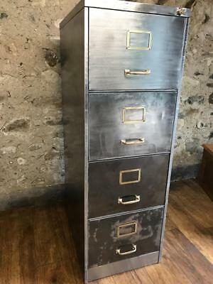 Vintage Industrial Stripped Metal 4 Drawer  Filing Cabinet With Foolscap Hanging