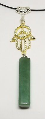 New Natural Green jade Hand-carved Nephrite Pendant Necklace Hamsa
