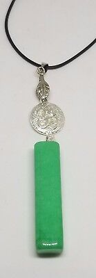 New Natural Green jade Hand-carved Nephrite Pendant Necklace Allah
