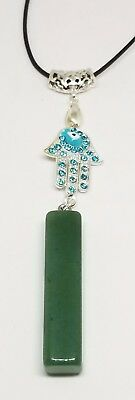 New Natural Green jade Hand-carved Nephrite Pendant Necklace Hamsa Evil Eye