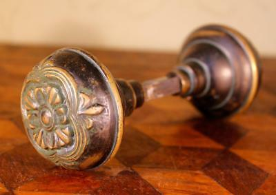 LOVELY Pair Reclaimed Vintage Antique Solid Cast Bronze Brass Door Knobs Handles