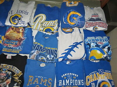 LOT OF 21 VTG 90s SWEATSHIRTS VTG STARTER ST LOUIS RAMS LOS ANGELES SUPER BOWL34