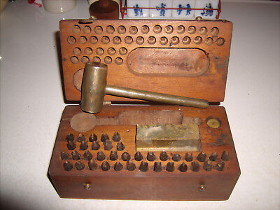 Vintage Alphabet Number Punch Stamp Die  Wood Box  Leather Collectible Brass Set