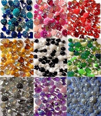 60 x Mixed Flatbacks Hearts Resin Pearls Bow Flower Embellishments Cabochon