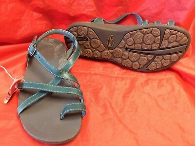NEW!! Chaco Dorra Teal Ankle Strap Leather Sandal Women's size 7