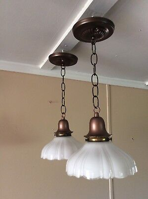 Antique Pair Art Deco Pendant Lights Scalloped Edges Clam Broth Shade 1910s