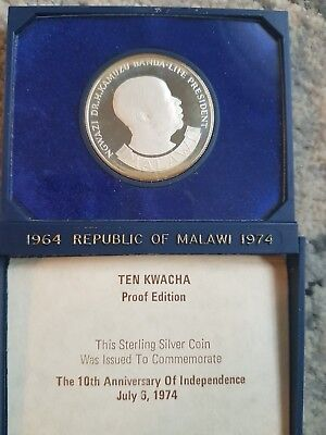 1964-1974 Rep of Malawi SS Coin ten Kwacha Case and COA