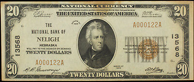 1929 Series Neligh National Bank Nebraska $20 National Currency Note Vf Stained