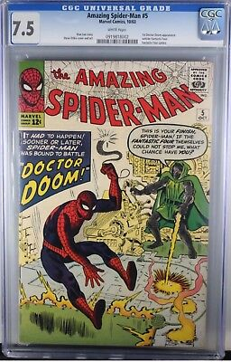 Amazing Spider-Man 5 CGC 7.5 Dr Doom White Pages