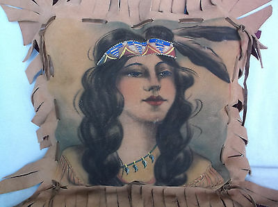 Vintage Painting Native American Indian Girl Leather Pillow Seven Falls Cheyenne