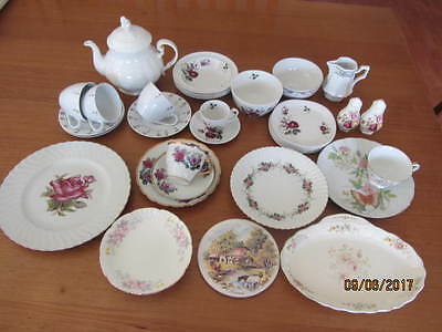Mixed Vintage Lot Of Cups / Saucers, Bowls Cake Plates Teapot Sugar Cream Etc.