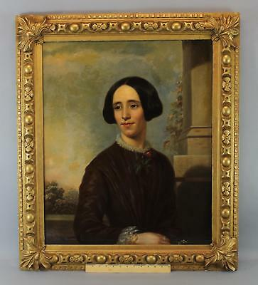 19thC Antique American Victorian Lady O/C Life Size Portrait Oil Painting