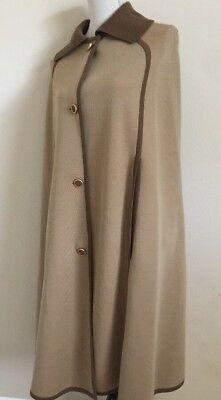 Vtg BIANCA REVERSIBLE KNIT Italian WOOL SWEATER Cape M/L Beige/Orange 60s