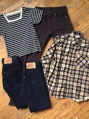 5 Piece 90s Vintage Clothing Lot Levis 501s Jeans W30/31 L32/36 Grunge Plaid