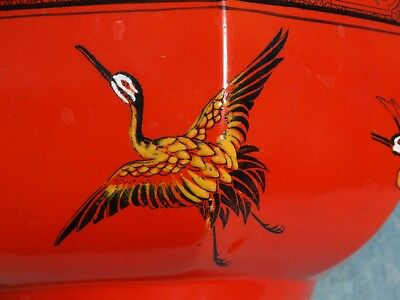 Early Shelley china LARGE BOWL Oriental Cranes Scarlet Red Orange pattern 8590