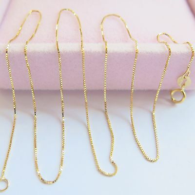 """Pure 18K Yellow Gold Necklace Perfect Box Chain Link 17""""L 1-1.5g"""