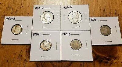 ***LOT OF 6*** 2 Silver Quarters & Four Silver Dimes! Liberty Seated & Barber!!!