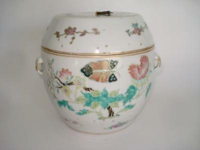 Antique Chinese Porcelain Famille Rose Covered Jar Qing 19Th Cent Signed Tongzhi