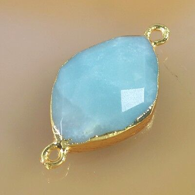 Multi-Color Amazonite Faceted Connector Gold Plated B041872