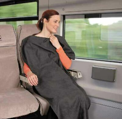 NEW Bucky Ultra Compact Lightweight Travel Blanket Charcoal 142x91 cm