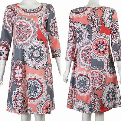 Summer Women Loose Casual Swing Mini Dress O-neck Long Sleeve Party Beach Dress