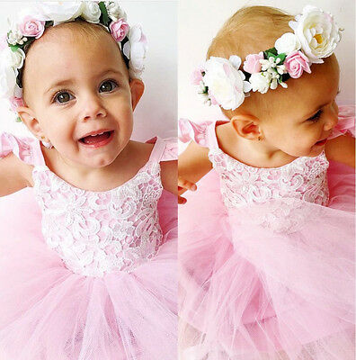 Cute Kids Baby Girls Floral Lace Tutu Tulle Dress Party Dresses Summer 2-3Years