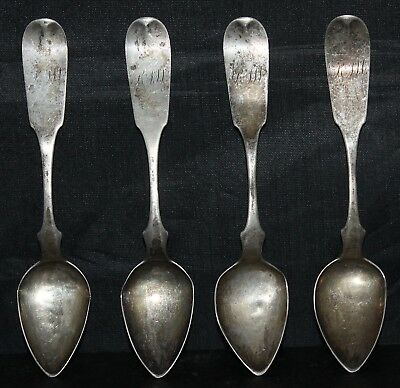 Lot of 4 Perry O. Daniel American Coin Silver Teaspoons 6""