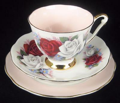 Queen Anne White/Red Roses Bone China Cup/Saucer/Plate Trio